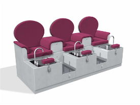 Charleston sofa pedicure bench for Sillas para manicure y pedicure de segunda