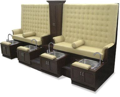 King pedicure spa bench for Nail salon equipment and furniture