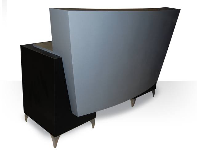 Double cabinet curved desk design x mfg salon equipment for Design x salon furniture