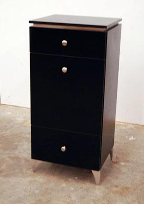 Styling station side cabinet with metal feet design x mfg for Armoire salon design
