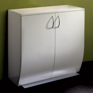 Pod cabinet in lacquered white and chrome base design x for Armoire salon design